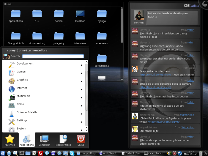 Kickoff Menu, Twitter widget, Folder View