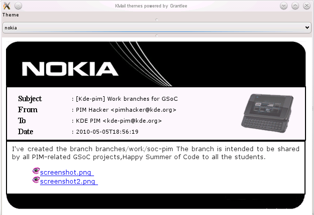 Nokia theme for Kmail