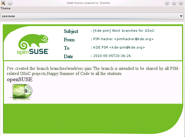 openSUSE theme for Kmail