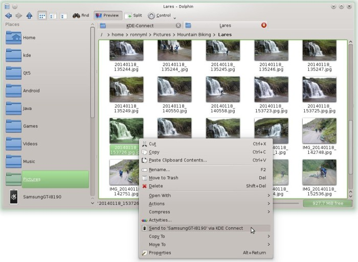 KDE Connect desktop send file