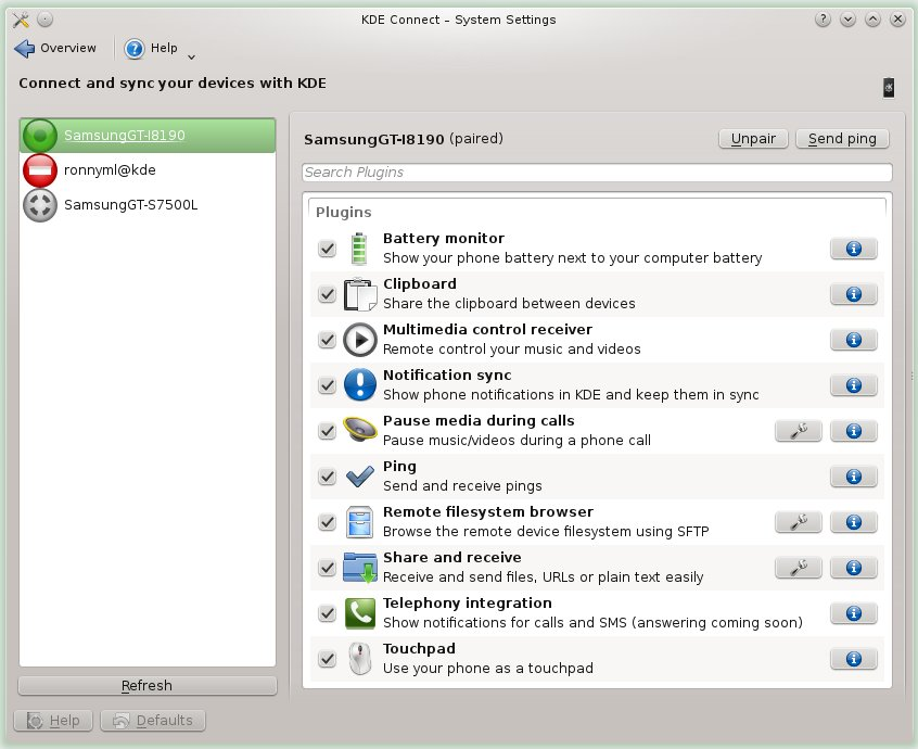 KDE Connect Settings