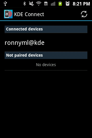 KDE Connect connected devices
