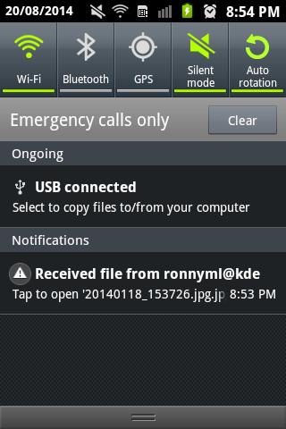 KDE Connect desktop received file