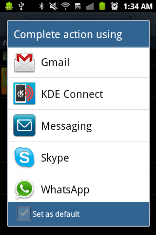 KDE Connect Android send file